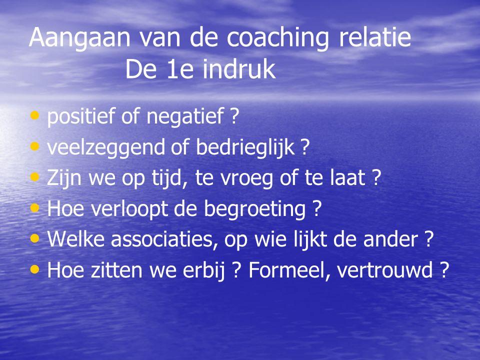 Aangaan van de coaching relatie De 1e indruk