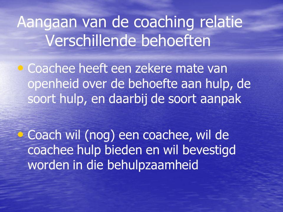 Aangaan van de coaching relatie Verschillende behoeften