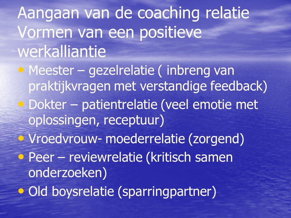 Aangaan van de coaching relatie Vormen van een positieve werkalliantie