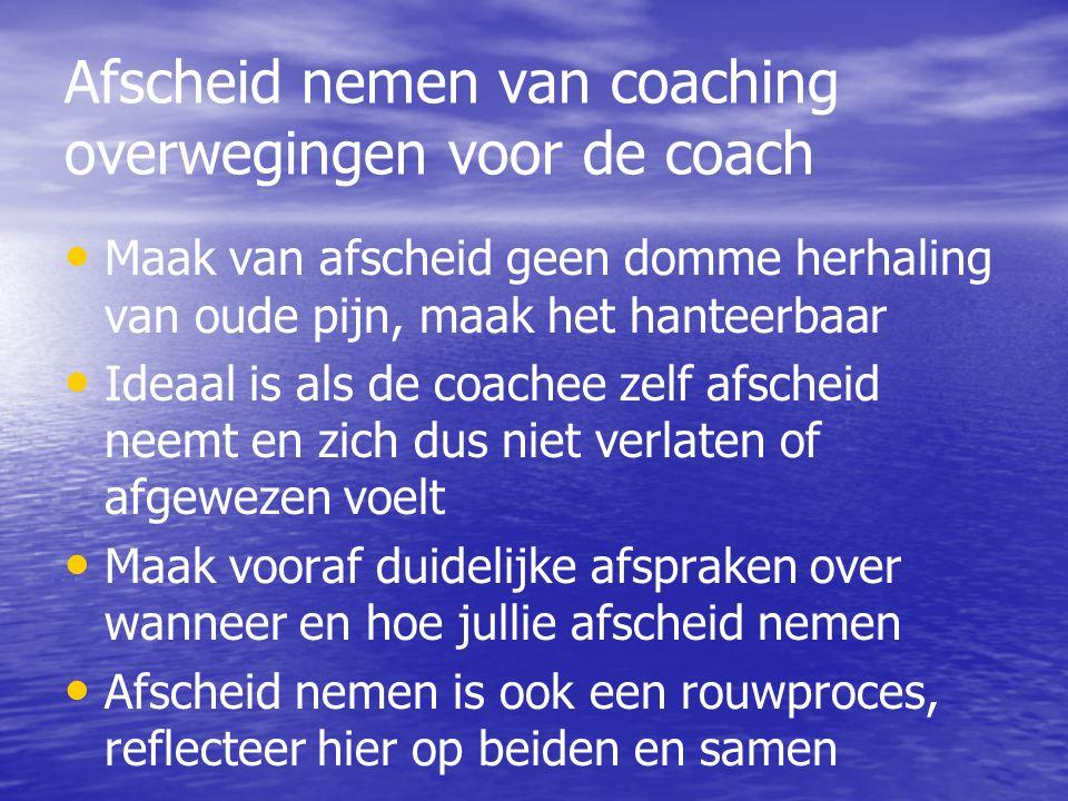 Afscheid nemen van coaching overwegingen voor de coach