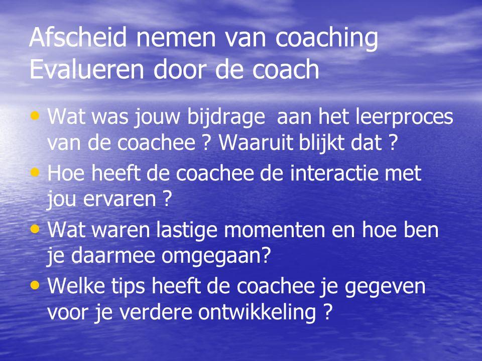 Afscheid nemen van coaching Evalueren door de coach