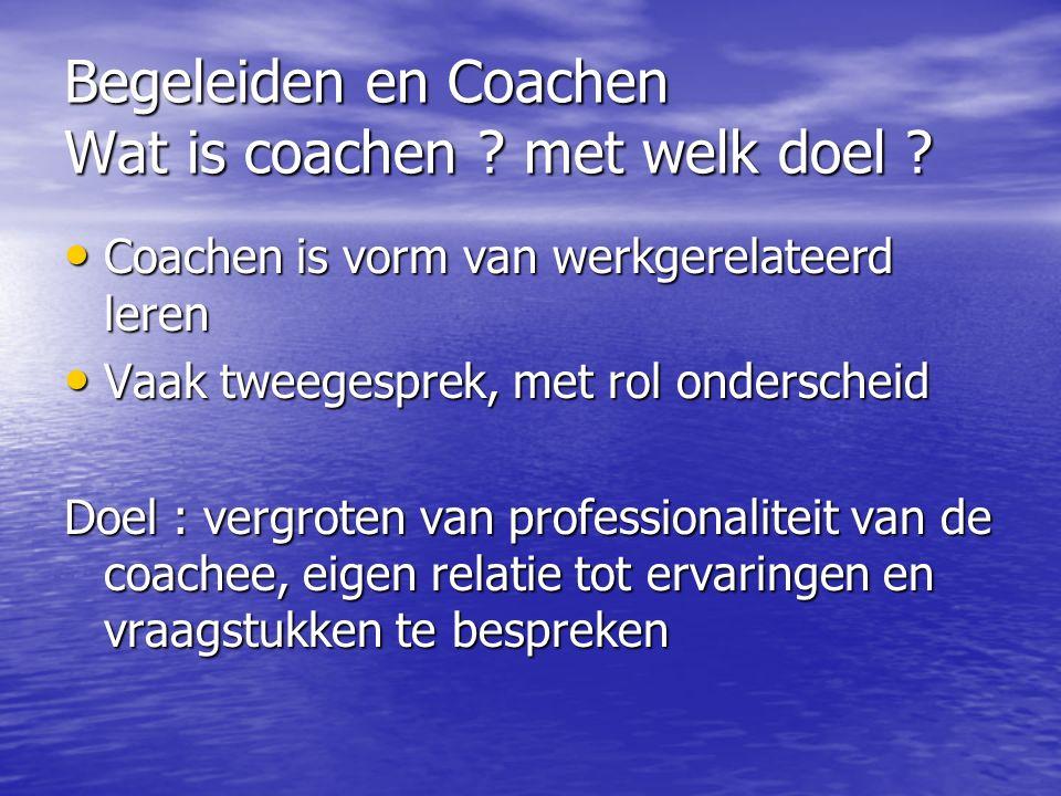 Begeleiden en Coachen Wat is coachen met welk doel