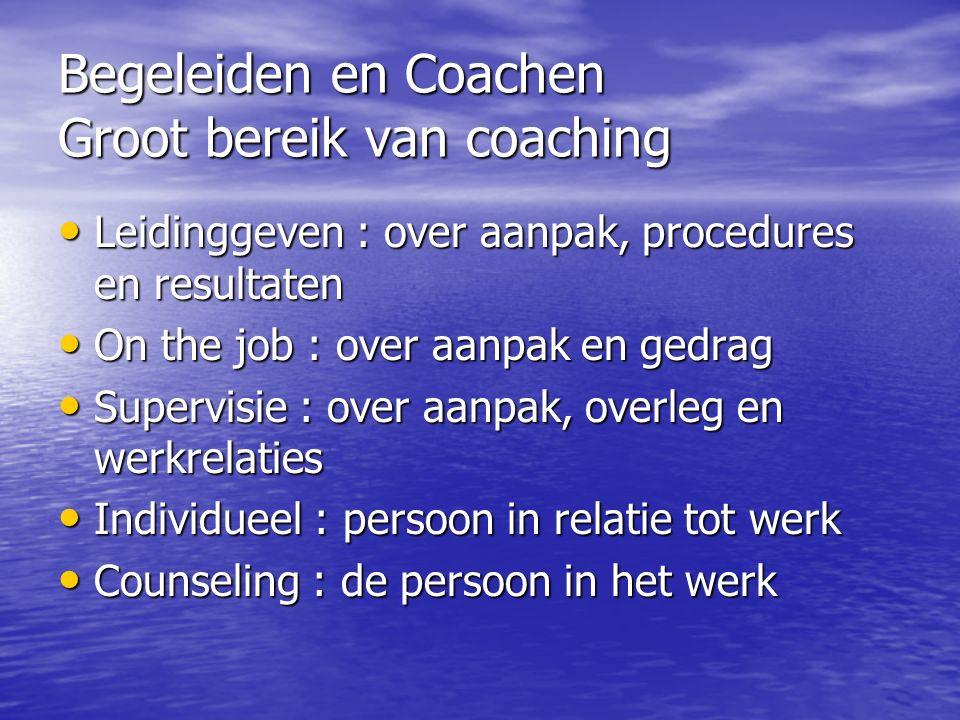 Begeleiden en Coachen Groot bereik van coaching