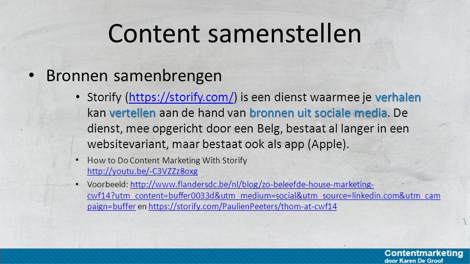 Content samenstellen Bronnen samenbrengen
