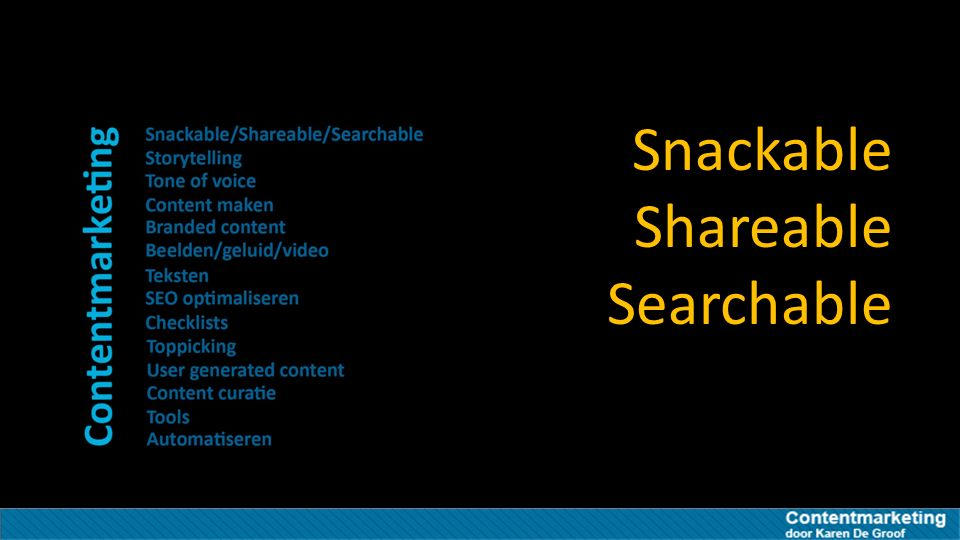 Snackable Shareable Searchable