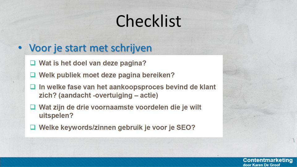 Checklist Voor je start met schrijven