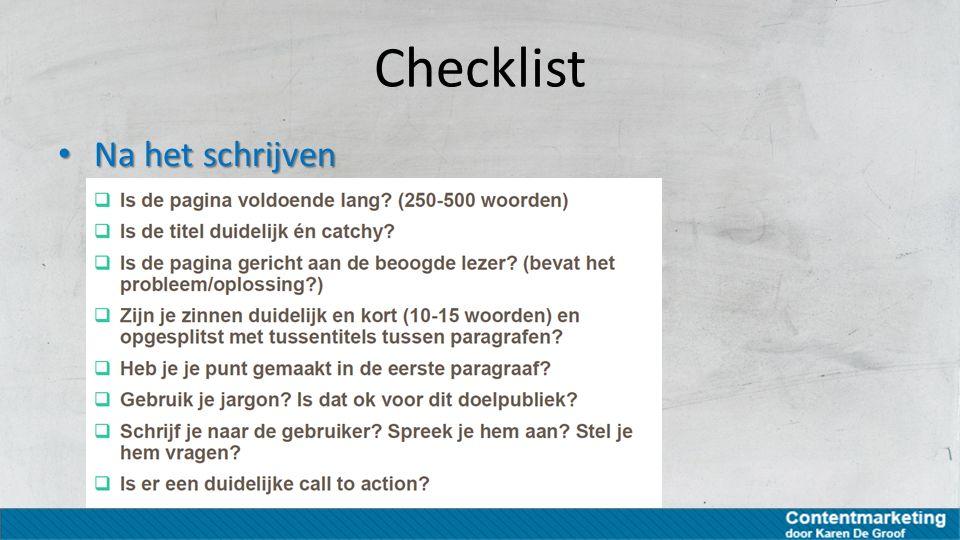 Checklist Na het schrijven