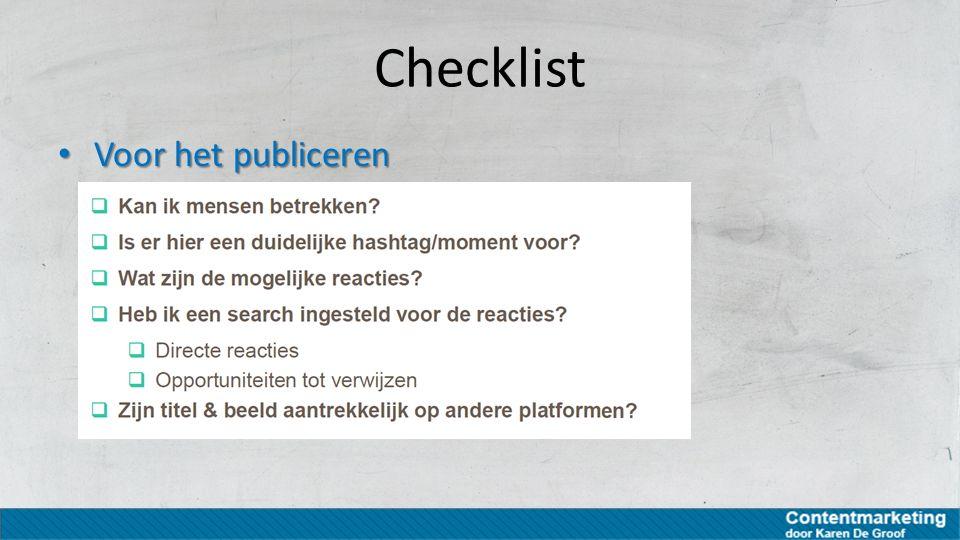 Checklist Voor het publiceren