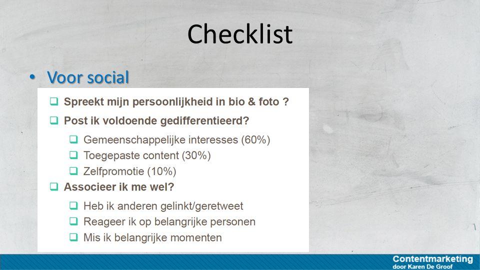 Checklist Voor social