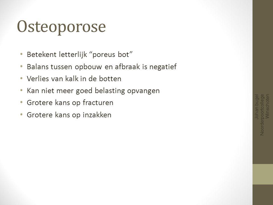 Osteoporose Betekent letterlijk poreus bot