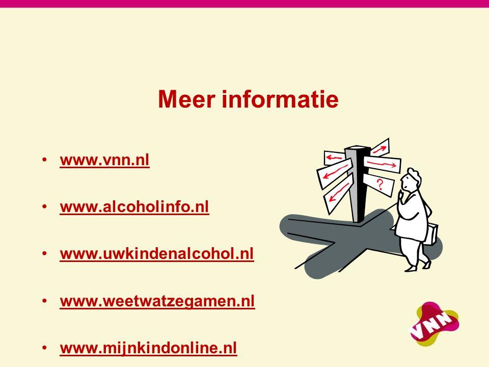 Meer informatie www.vnn.nl www.alcoholinfo.nl www.uwkindenalcohol.nl