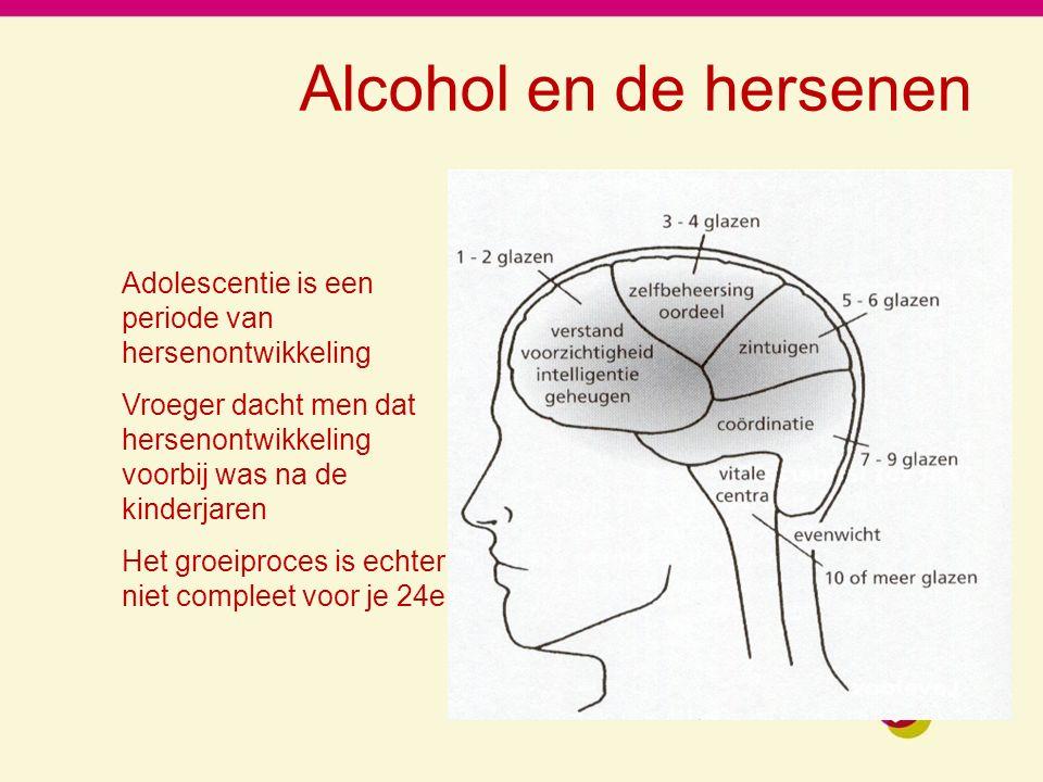 Alcohol en de hersenen Adolescentie is een periode van hersenontwikkeling. Vroeger dacht men dat hersenontwikkeling voorbij was na de kinderjaren.