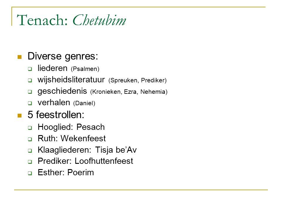 Tenach: Chetubim Diverse genres: 5 feestrollen: liederen (Psalmen)