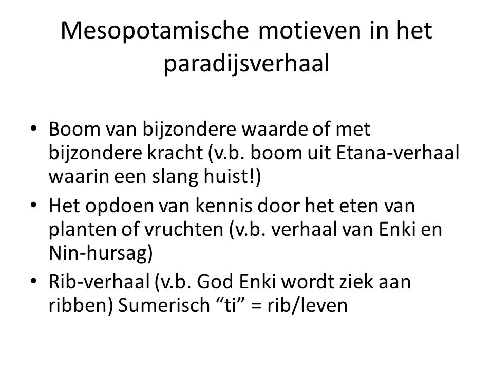Mesopotamische motieven in het paradijsverhaal