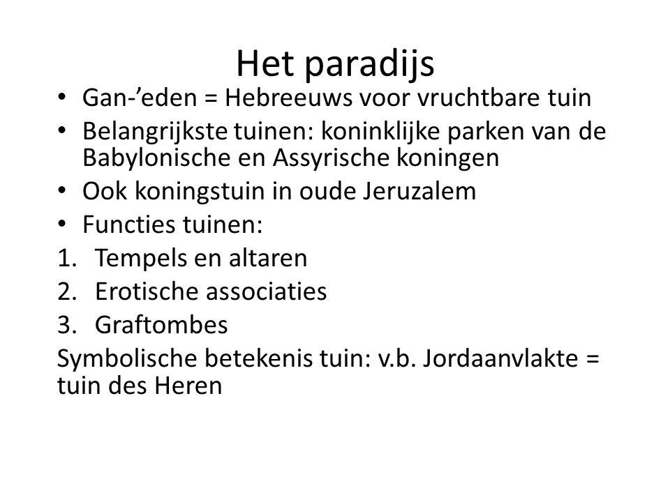 Het paradijs Gan-'eden = Hebreeuws voor vruchtbare tuin