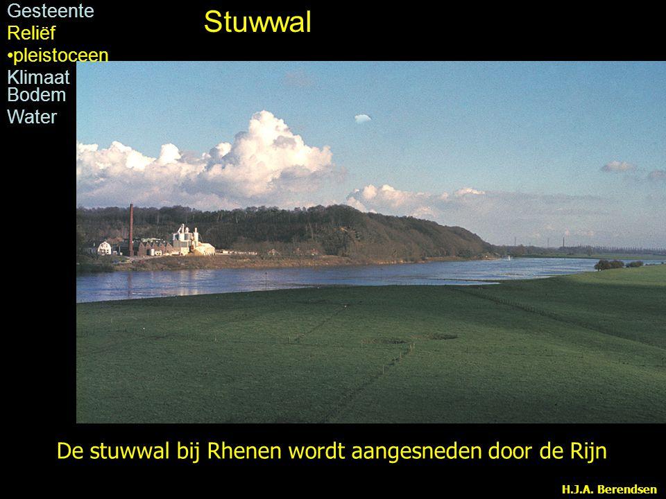 Stuwwal De stuwwal bij Rhenen wordt aangesneden door de Rijn Gesteente