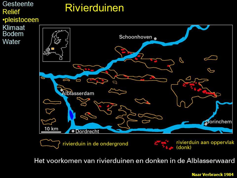 Rivierduinen Gesteente Reliëf pleistoceen Klimaat Bodem Water