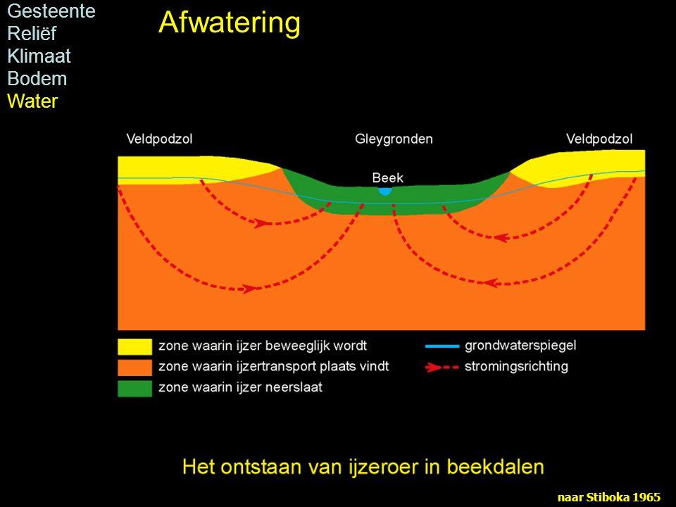 Afwatering Gesteente Reliëf Klimaat Bodem Water