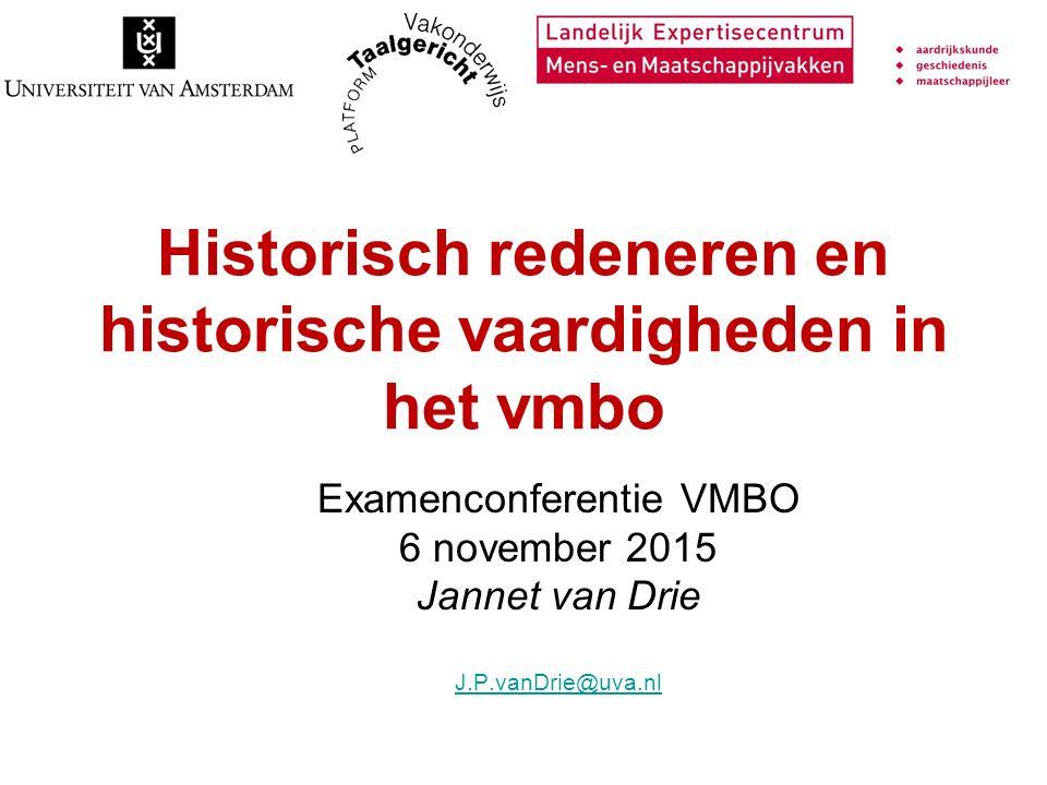 Historisch redeneren en historische vaardigheden in het vmbo