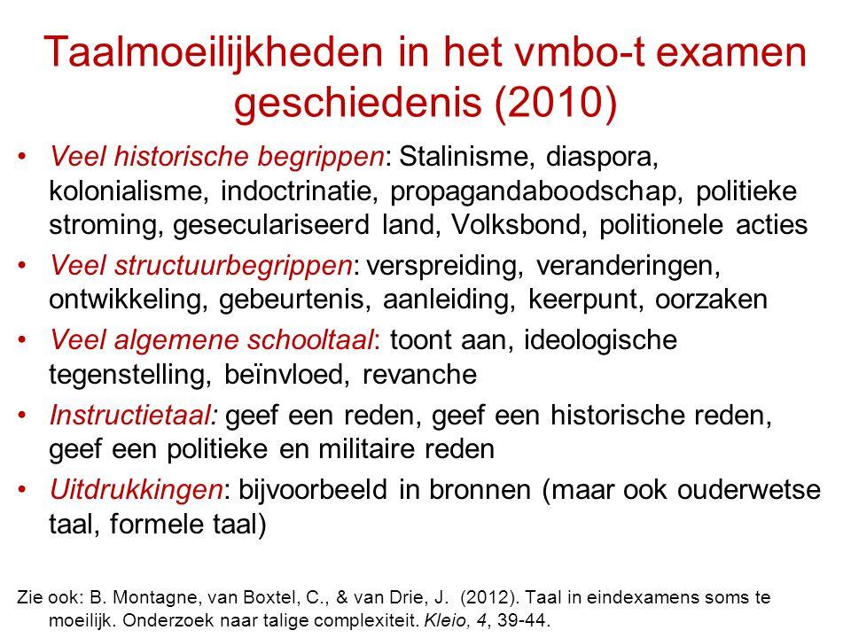 Taalmoeilijkheden in het vmbo-t examen geschiedenis (2010)