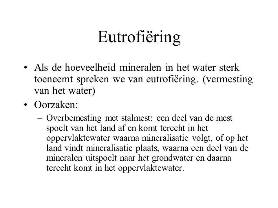 Eutrofiëring Als de hoeveelheid mineralen in het water sterk toeneemt spreken we van eutrofiëring. (vermesting van het water)