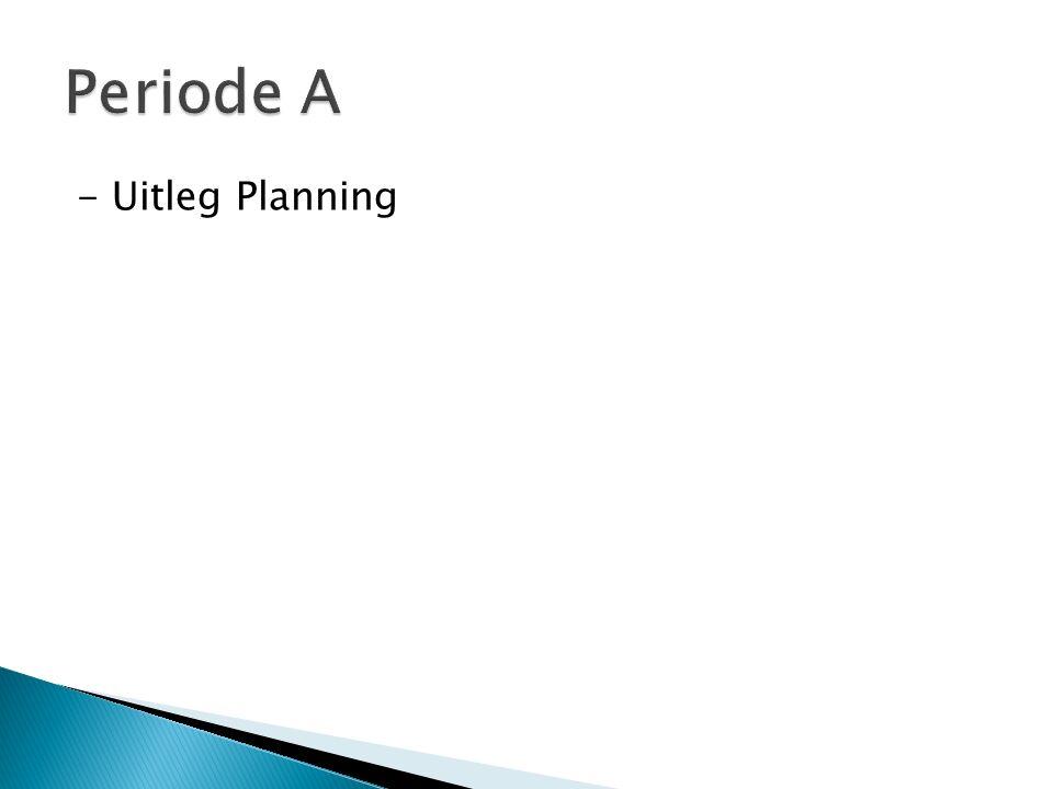 Periode A - Uitleg Planning