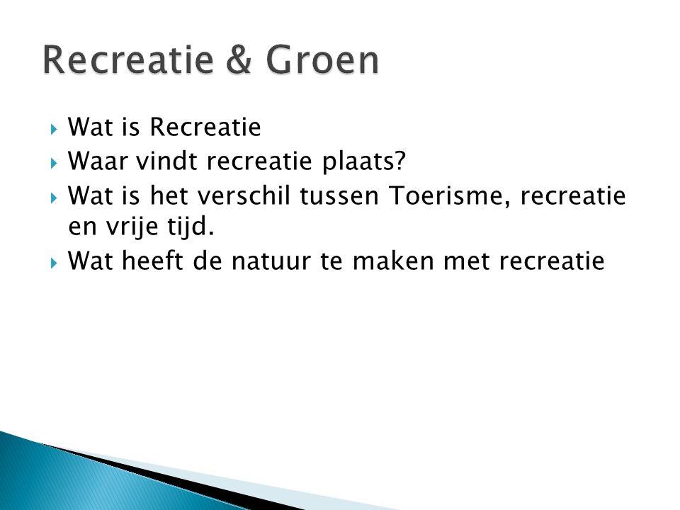 Recreatie & Groen Wat is Recreatie Waar vindt recreatie plaats