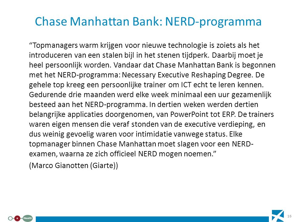 Chase Manhattan Bank: NERD-programma