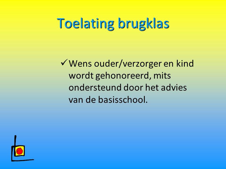Toelating brugklas Wens ouder/verzorger en kind wordt gehonoreerd, mits ondersteund door het advies van de basisschool.