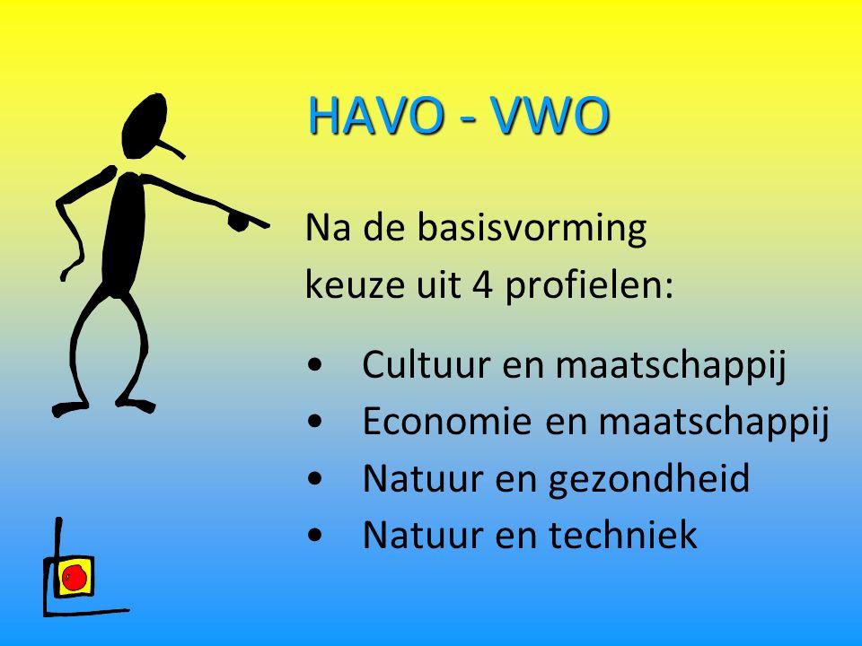 HAVO - VWO Na de basisvorming keuze uit 4 profielen:
