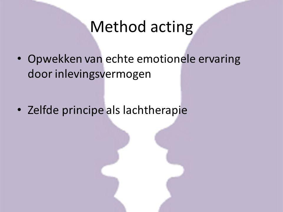 Method acting Opwekken van echte emotionele ervaring door inlevingsvermogen.