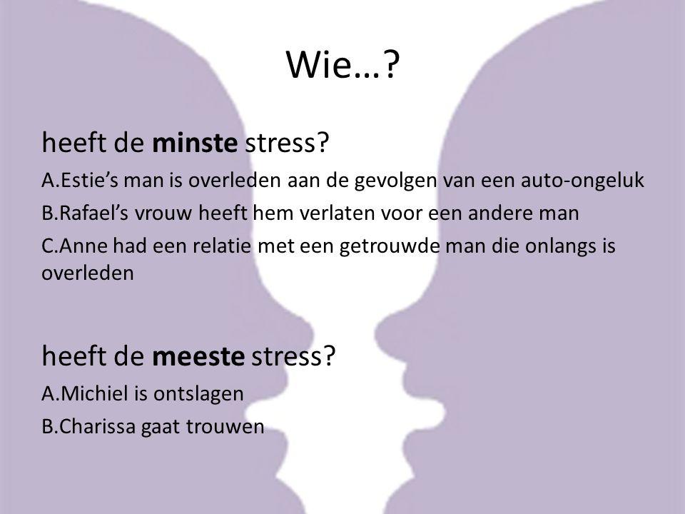 Wie… heeft de minste stress heeft de meeste stress