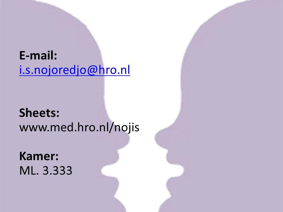 E-mail: i.s.nojoredjo@hro.nl Sheets: www.med.hro.nl/nojis Kamer: ML. 3.333