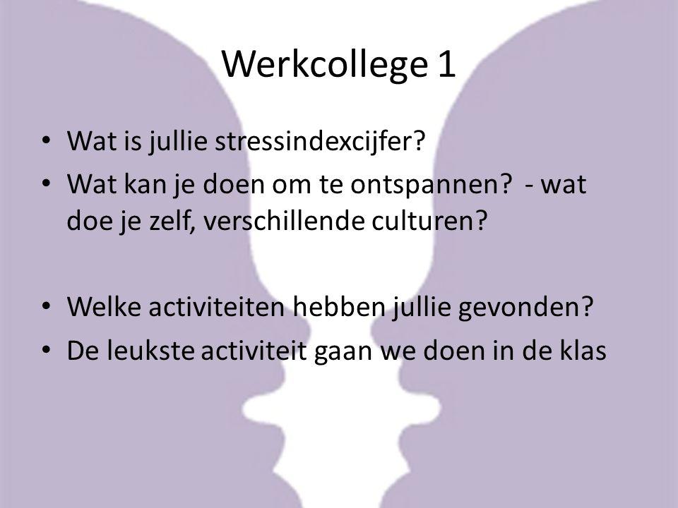Werkcollege 1 Wat is jullie stressindexcijfer