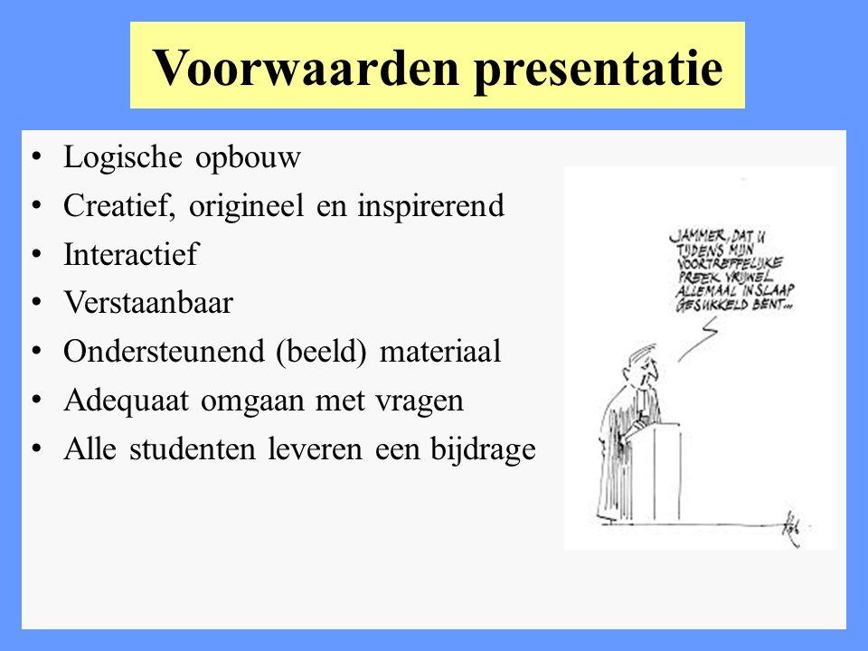 Voorwaarden presentatie