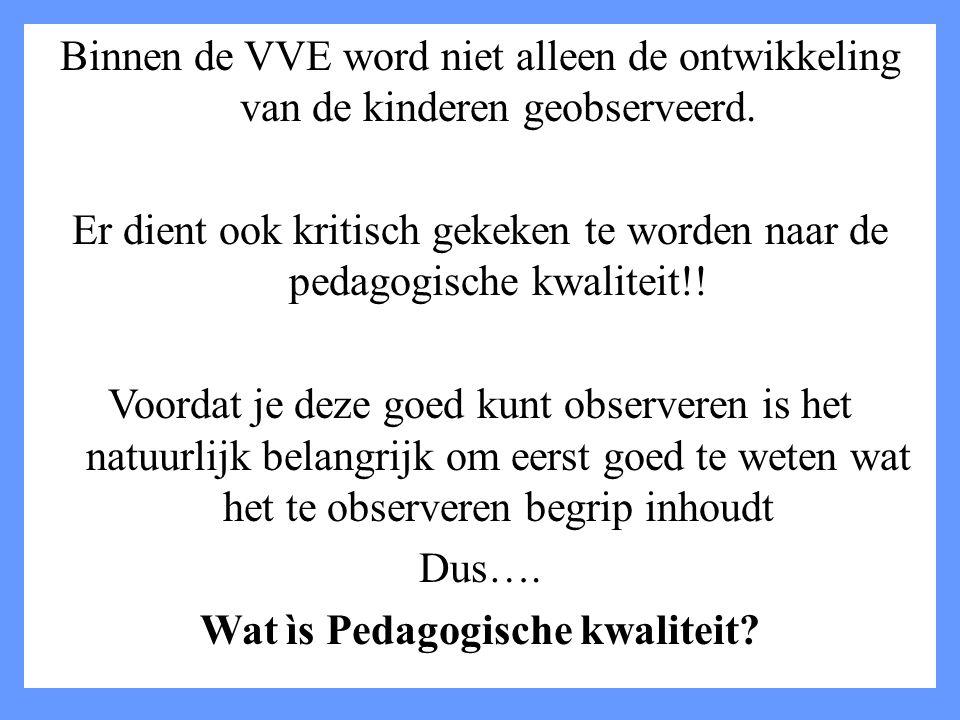 Binnen de VVE word niet alleen de ontwikkeling van de kinderen geobserveerd.