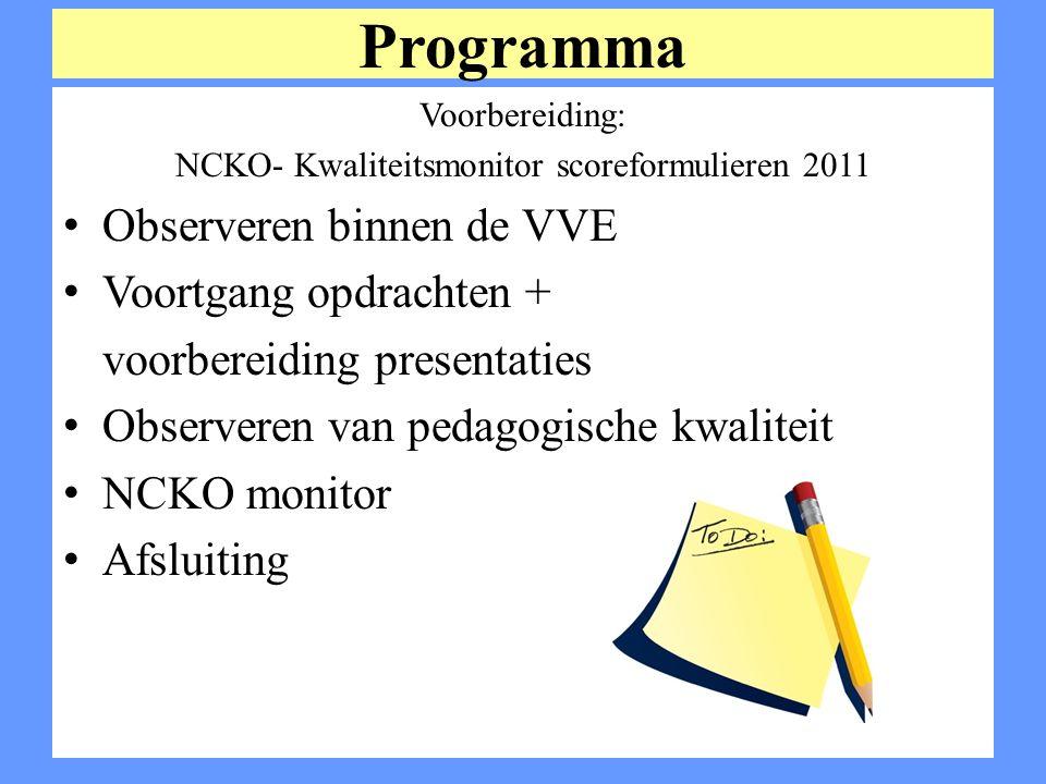 NCKO- Kwaliteitsmonitor scoreformulieren 2011