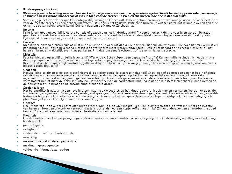 Kinderopvang checklist