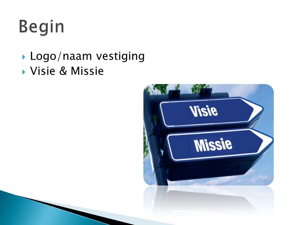 Begin Logo/naam vestiging Visie & Missie