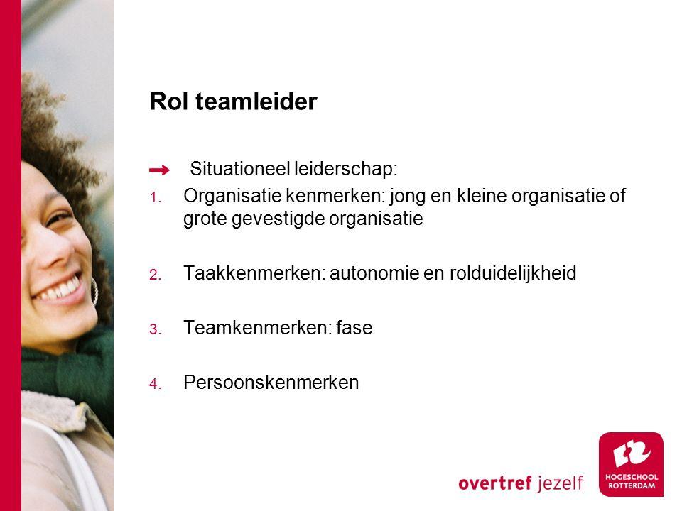 Rol teamleider Situationeel leiderschap: