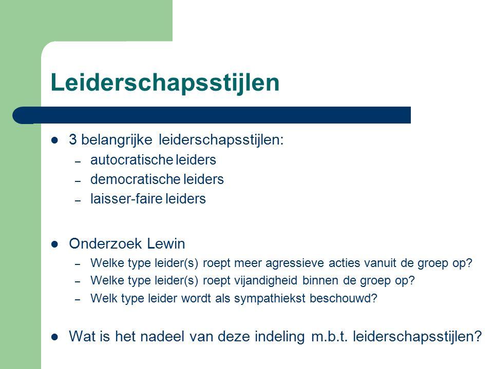 Leiderschapsstijlen 3 belangrijke leiderschapsstijlen: Onderzoek Lewin