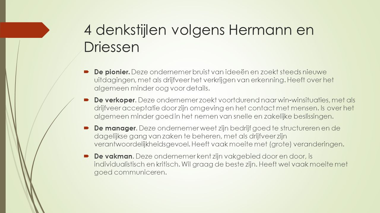 4 denkstijlen volgens Hermann en Driessen