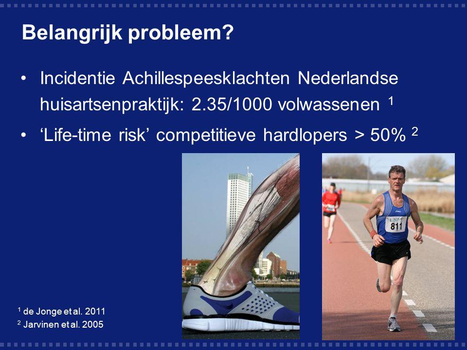 Belangrijk probleem Incidentie Achillespeesklachten Nederlandse huisartsenpraktijk: 2.35/1000 volwassenen 1.