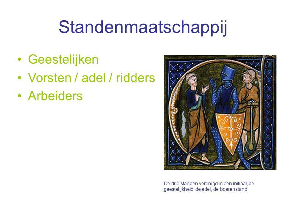 Standenmaatschappij Geestelijken Vorsten / adel / ridders Arbeiders