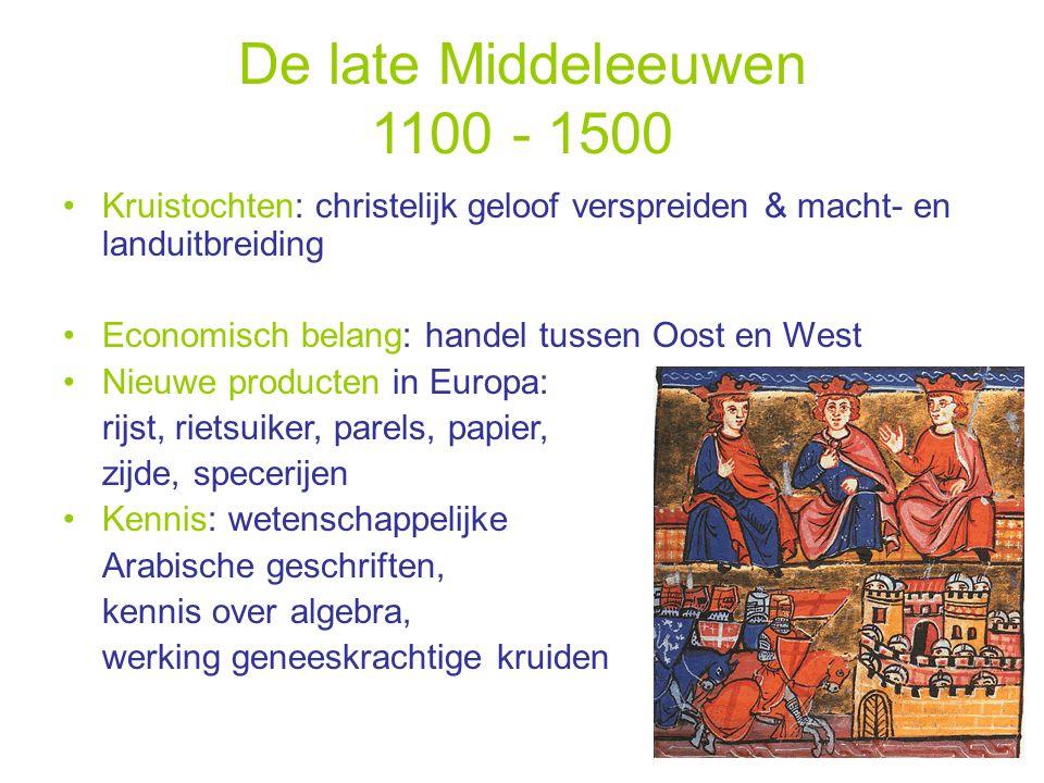 De late Middeleeuwen 1100 - 1500 Kruistochten: christelijk geloof verspreiden & macht- en landuitbreiding.