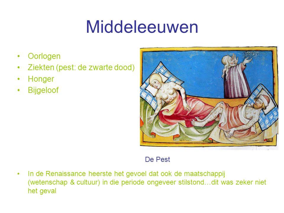 Middeleeuwen Oorlogen Ziekten (pest: de zwarte dood) Honger Bijgeloof