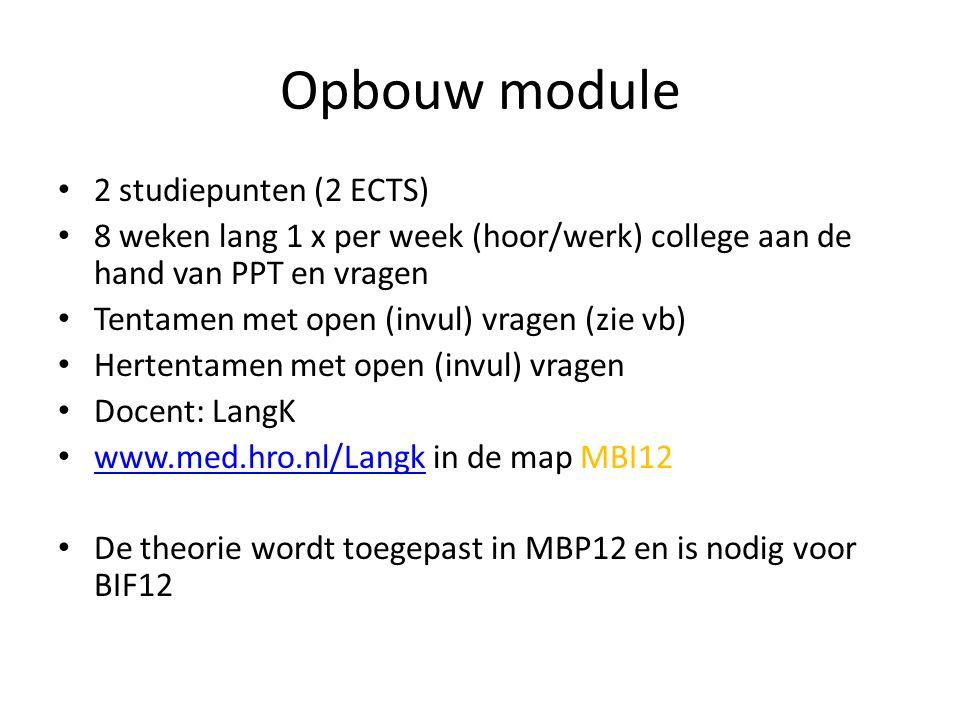 Opbouw module 2 studiepunten (2 ECTS)