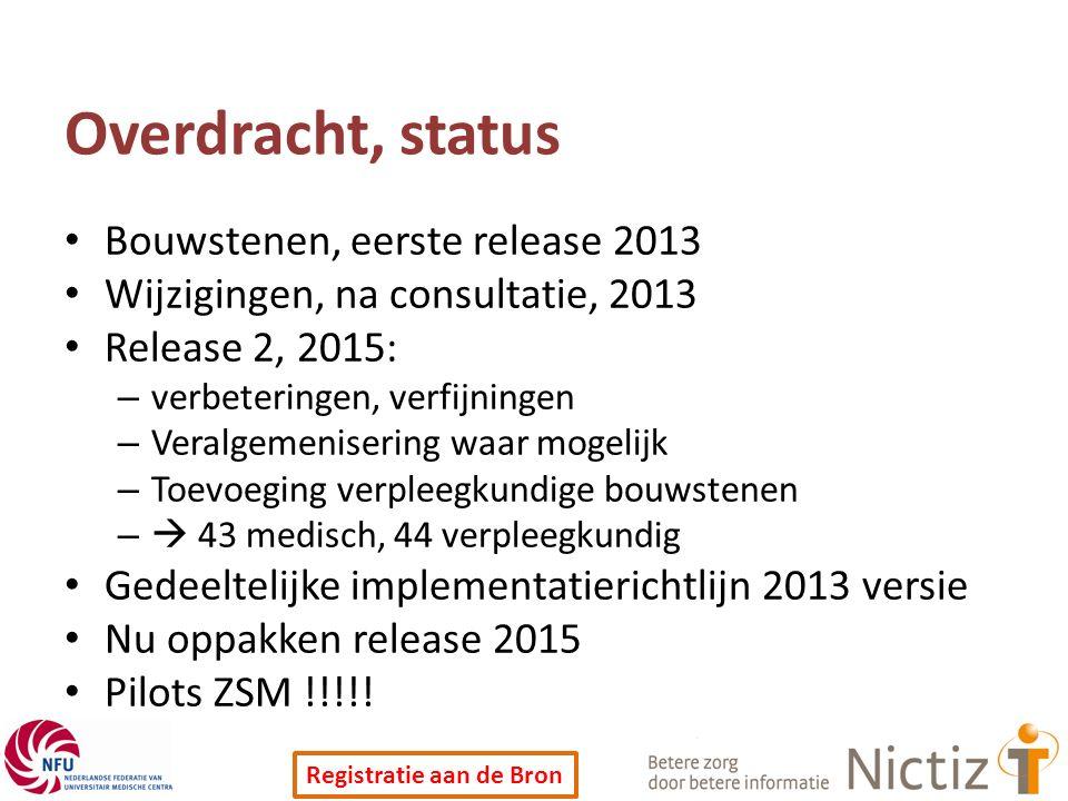 Overdracht, status Bouwstenen, eerste release 2013