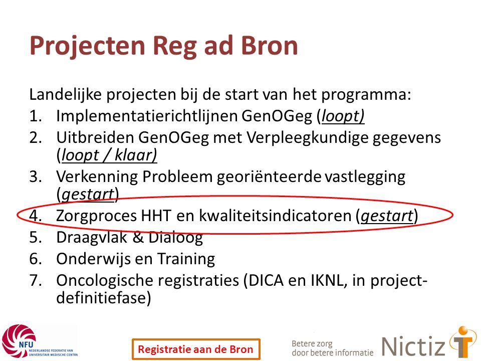 Projecten Reg ad Bron Landelijke projecten bij de start van het programma: Implementatierichtlijnen GenOGeg (loopt)