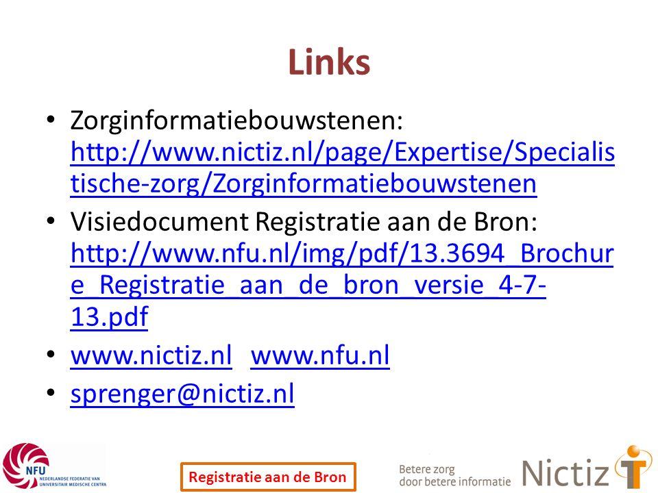 Links Zorginformatiebouwstenen: http://www.nictiz.nl/page/Expertise/Specialistische-zorg/Zorginformatiebouwstenen.